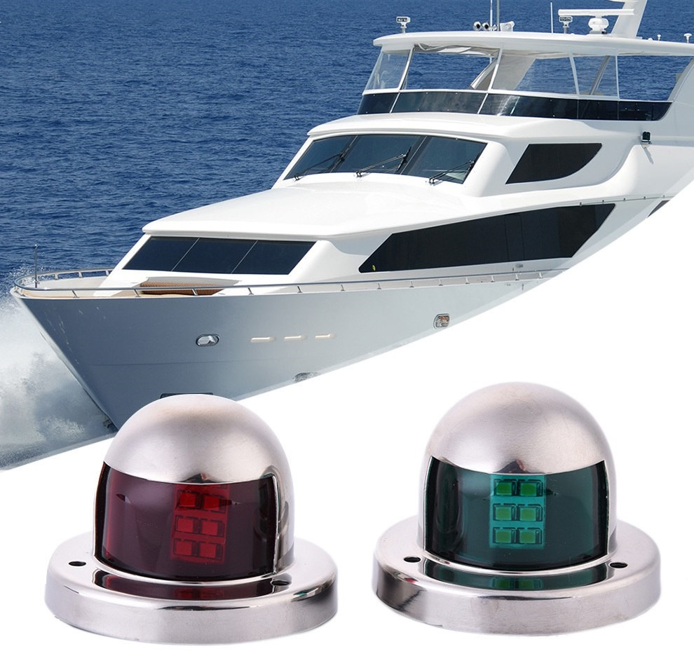 Set of two Marine Boat Yacht Light 12V Stainless Steel LED Bow Navigation Lights