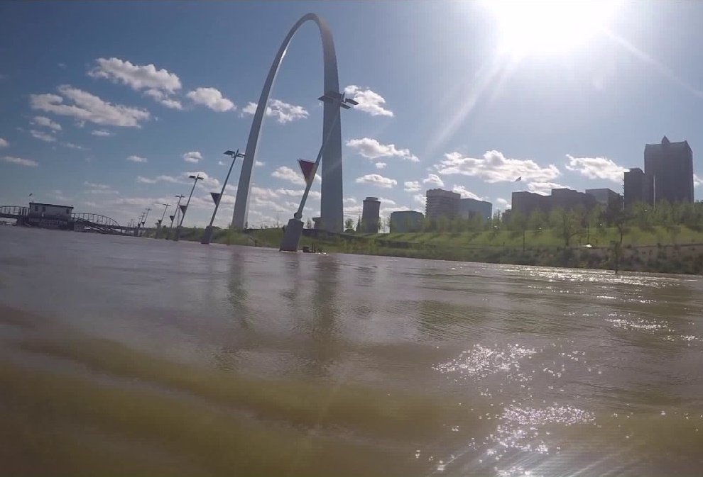 st. louis riverfront in the morning